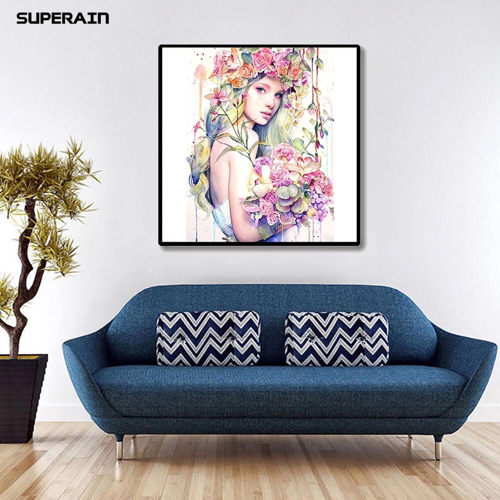 DIY Lukisan Diamond 5D Dengan Gambar Bunga Untuk Hiasan Dekorasi Rumah