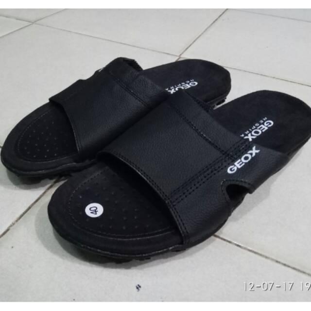 Sandal Sendal Pria Casual Geox Kulit Hitam  01bc4a1858