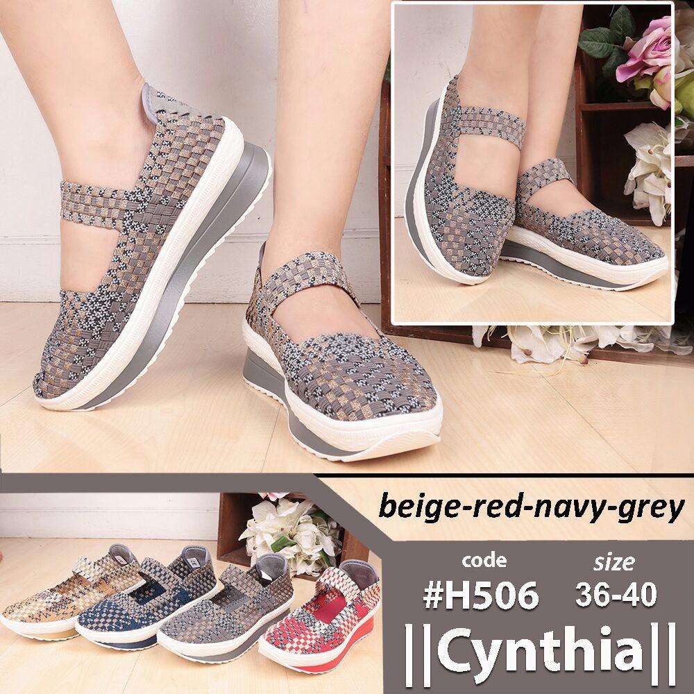 (PROMO) Sepatu Rajut Anyaman Original Cynthia Wedges H522   Shopee Indonesia