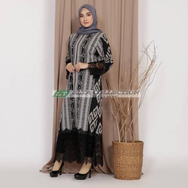 Gamis Tenun Etnik Mix Brokat Long Dress Shopee Indonesia