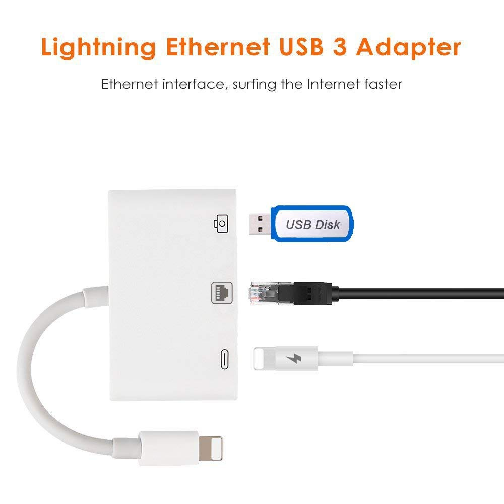Ethernet LAN Lightning to RJ45 Adapter Network Compact USB 3.0 for iPhone//iPad