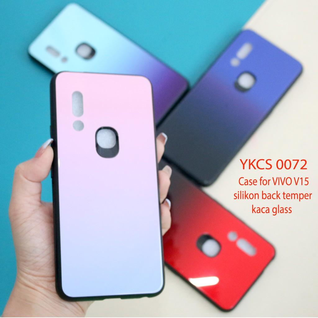 YKacc 0072 VivoV15 VIVO V15 case back temper glass hard sarung HP gradasi polos warna hardcase