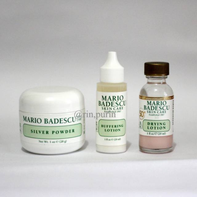 MARIO BADESCU Drying Lotion & Buffering Lotion & Silver Powder [SHARE] | Shopee Indonesia