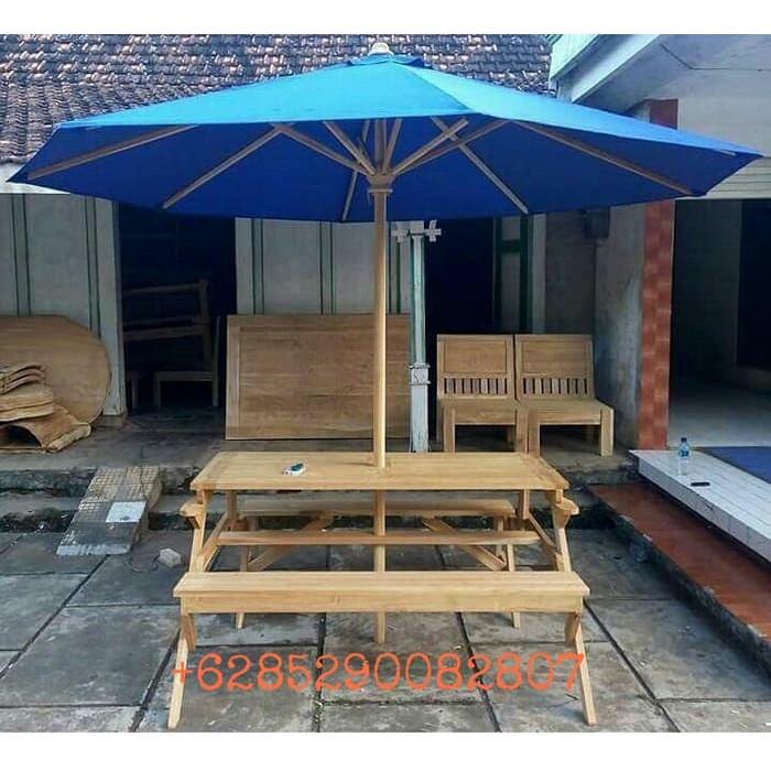 Meja Kursi Makan Payung Bangku Lipat Cafe Taman Outdoor Kayu Jati Shopee Indonesia
