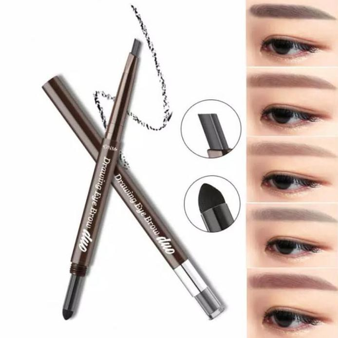 Dnm Beauty Drawing Eye Brow Duo Pen Pensil Alis Waterproof 3d