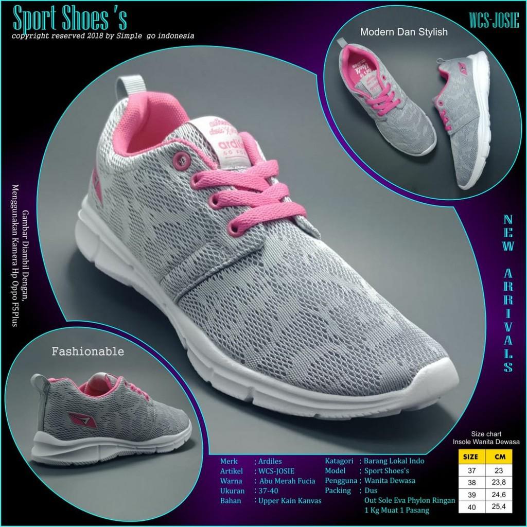 Ardiles Parlina Shopee Indonesia Women Chow Sepatu Running Abu Merah 39