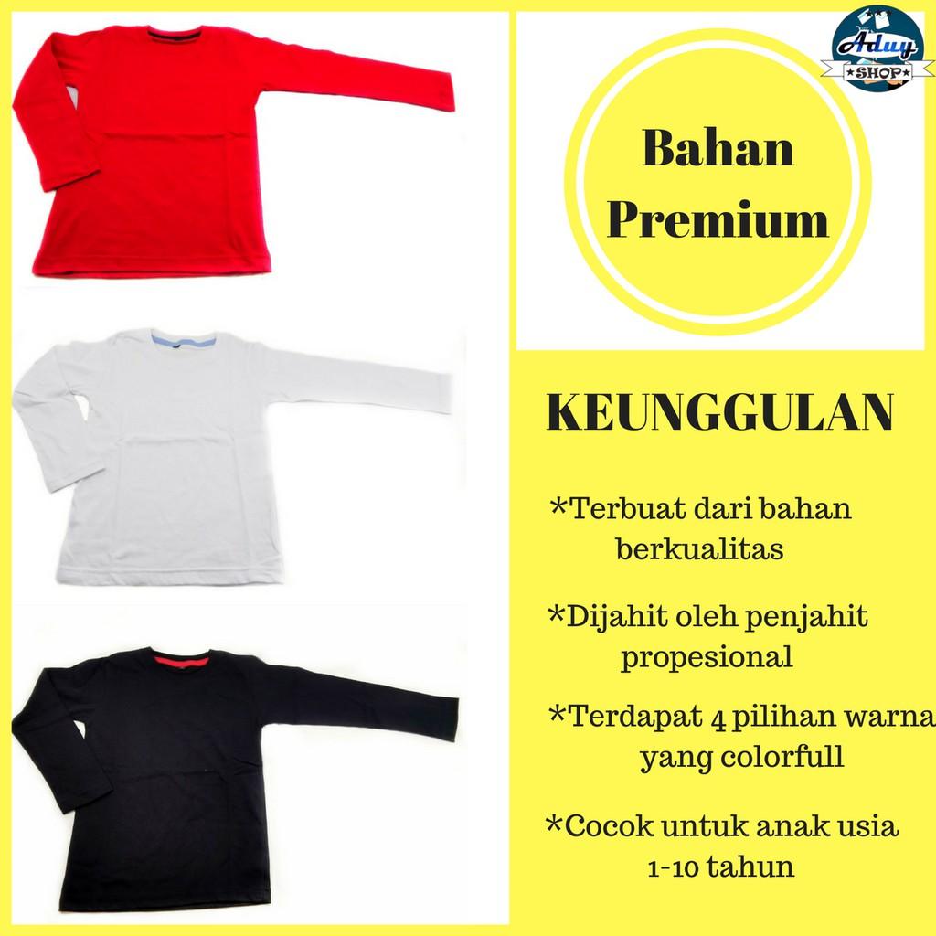 Jual Kaos Polos Anak Harga Promo November 2018 Polo Murah Lengan Panjang Laki Perempuan Cewe Cowo Bahan Katun Combed 24s G