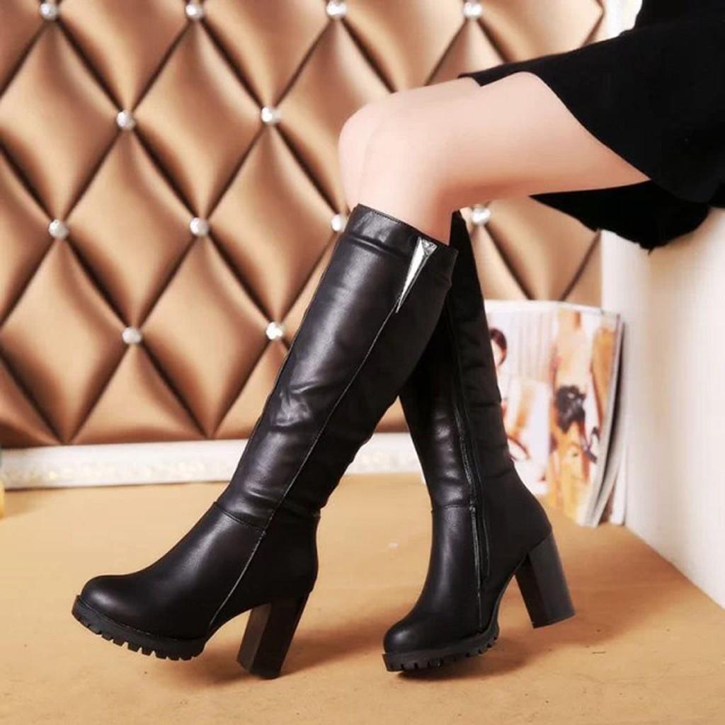 Sepatu Boots Selutut Wanita Bahan Kulit Pu High Heels Balok Untuk