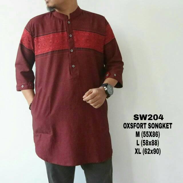 baju koko muslim bahan oxford motif songket lengan raglan 4warna premium  original by ness f0c2205c55
