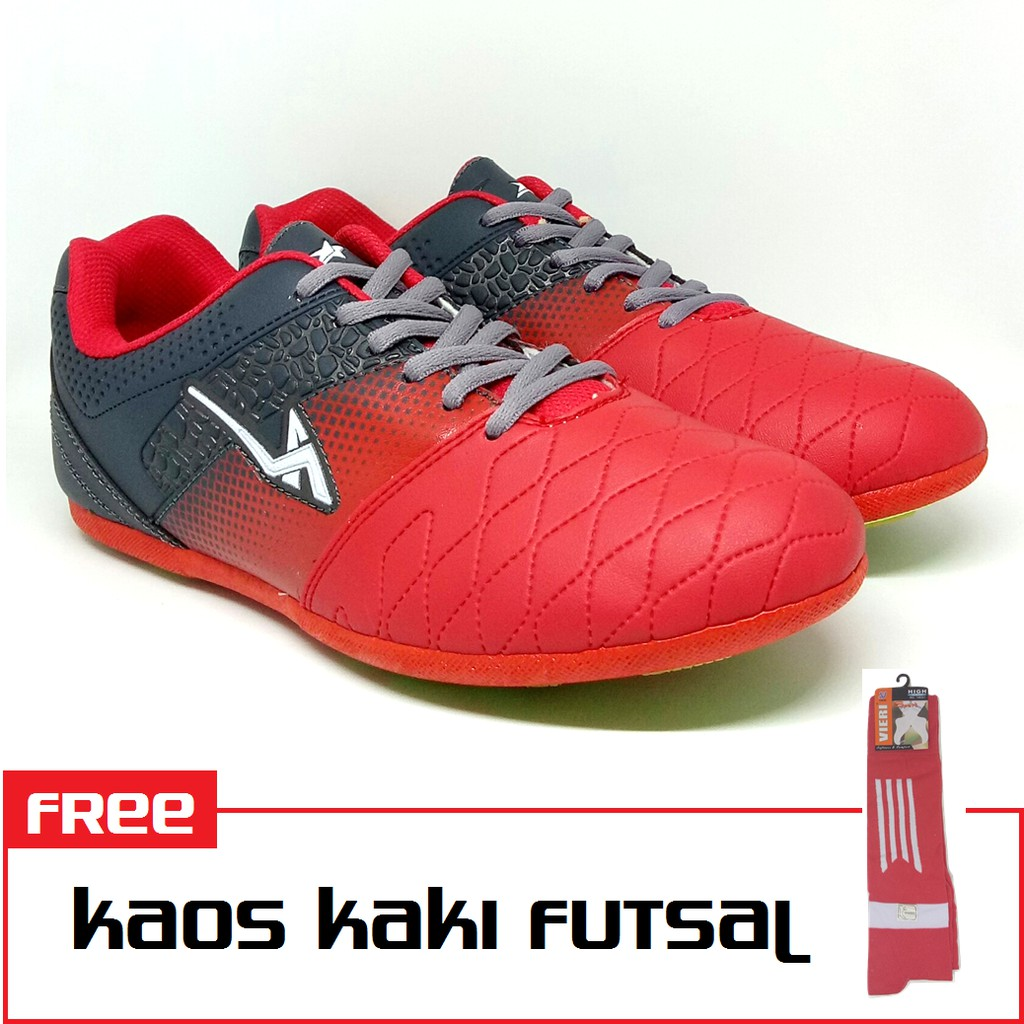 Pro ATT Original - FWD 781 Merah Abu Bonus Kaos Kaki - Sepatu Futsal Pria - b86a7e1151