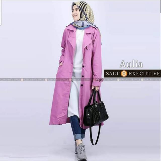 MODEL BARU   Long Vest Coat Gina SW  coat wanita wolly crepe maroon ... 449cea72c2