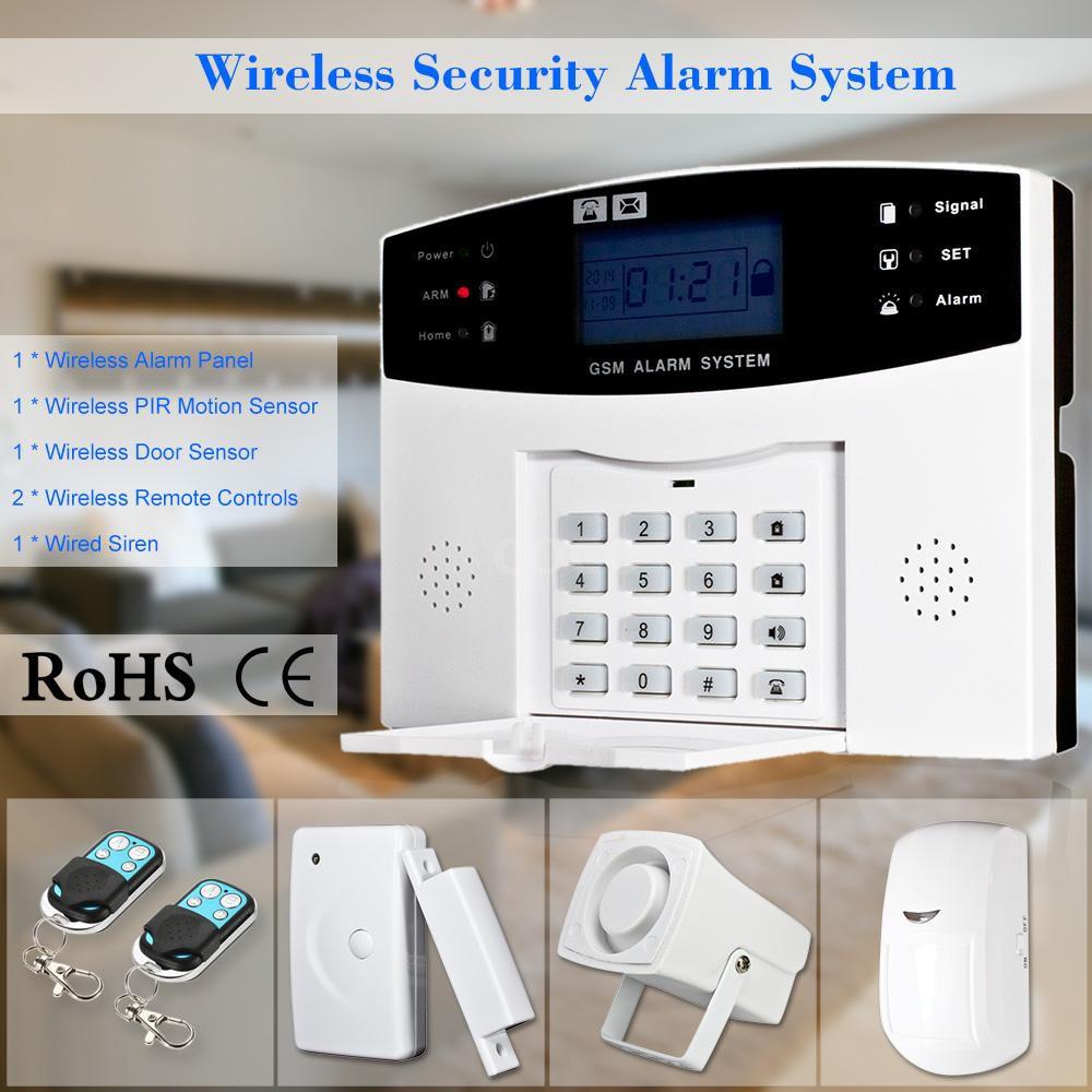 Wireless Gsm Sms Home Burglar Security Alarm System Detector Sensor Kit Phone App Remote Control 433 Shopee Indonesia