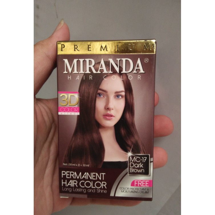 Cat Pewarna Rambut Permanent Miranda Mc 17 Dark Brown Coklat Gelap Shopee Indonesia