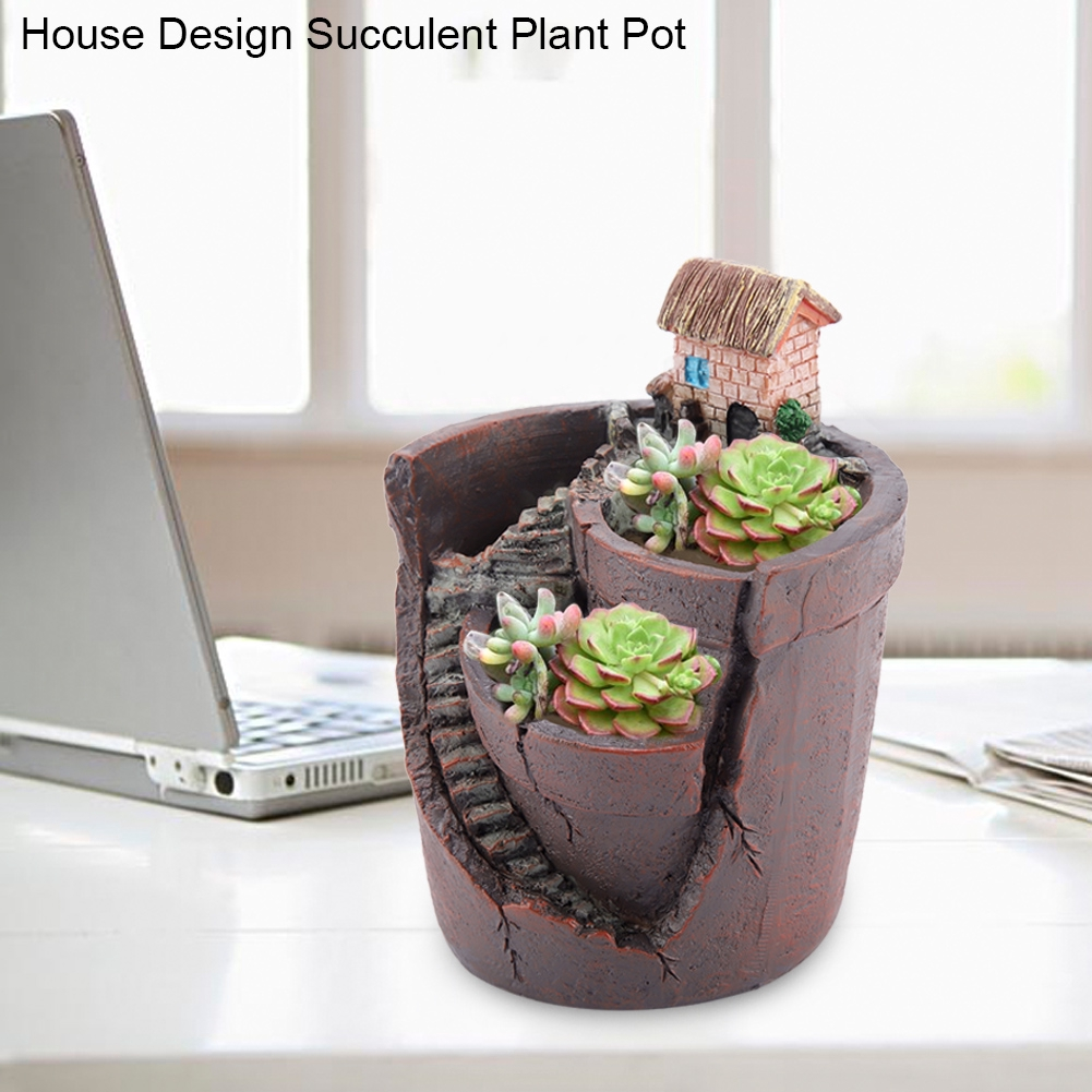House Design Cactus Resin Flowerpot Succulent Plant Pot Shopee Indonesia