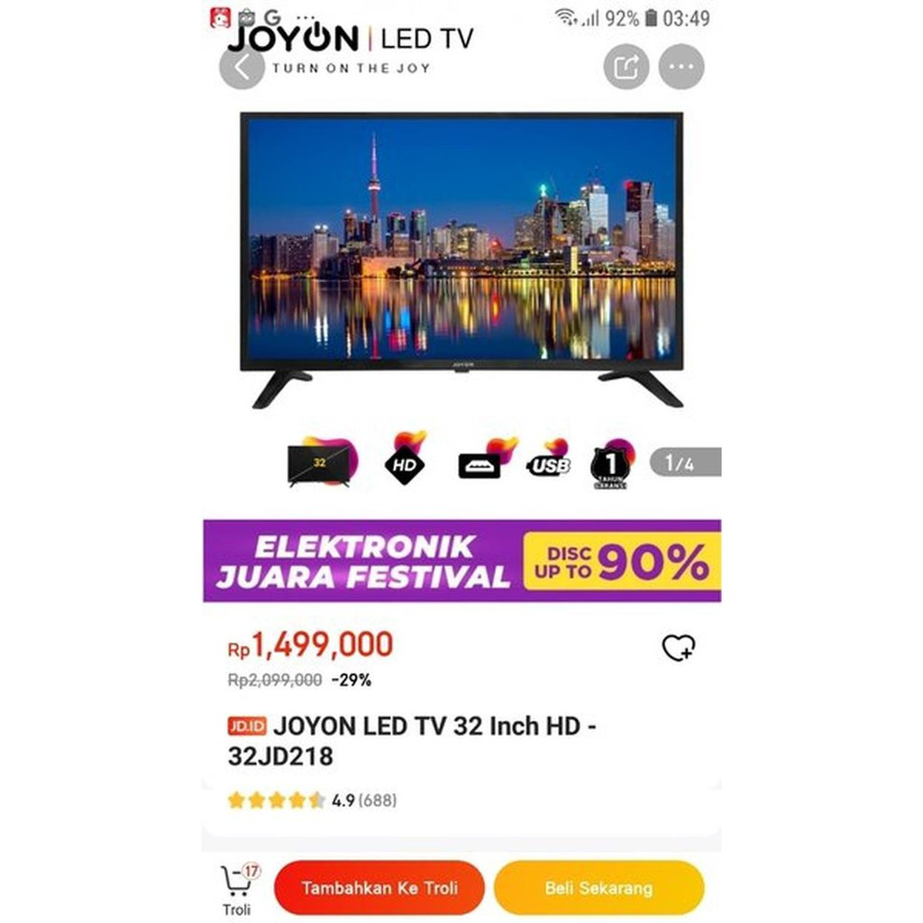 JOYON LED TV 32 Inch HD-32JD218