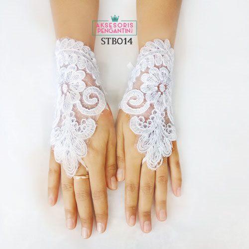 Sarung Tangan Lace Brokat Wedding L Aksesoris Pengantin Sts 003
