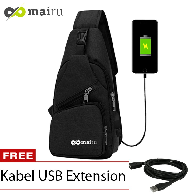 Mairu 329 Tas anti Maling Selempang Sling Bag Cross Body With USB Charger  Support Anti Theft  d351164adb