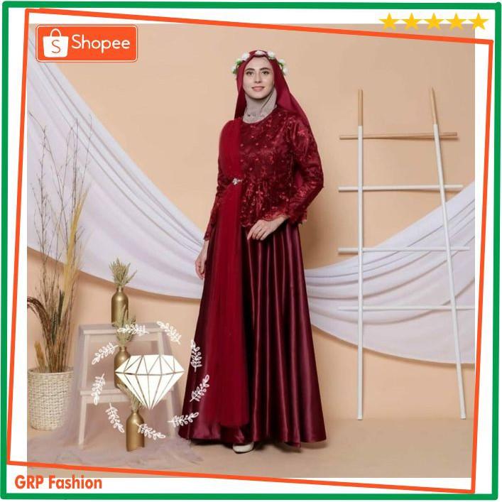 Big Promo Maxi Emerga Dress Gamis Selendang Brukat Tile Mutiara Gamis Velvet Ac 513 Shopee Indonesia