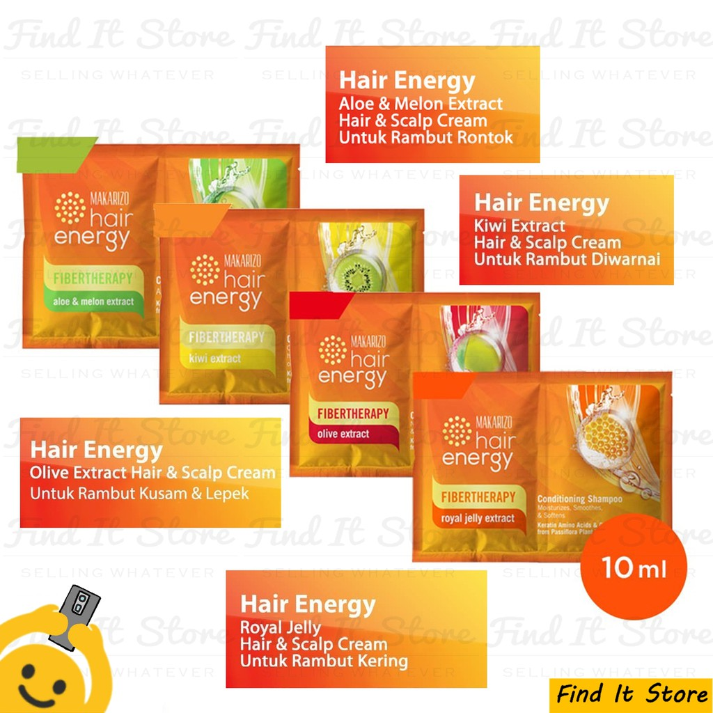 Makarizo Hair Energy Fibertherapy Conditioning Shampoo 10ml 10 ml Sampo Pembersih Rambut 2in1