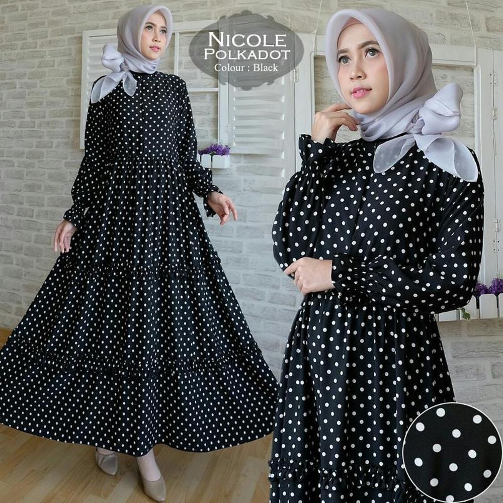 model baju muslim gamis terbaru dan modern TK9 Nicole Polkadot Murah