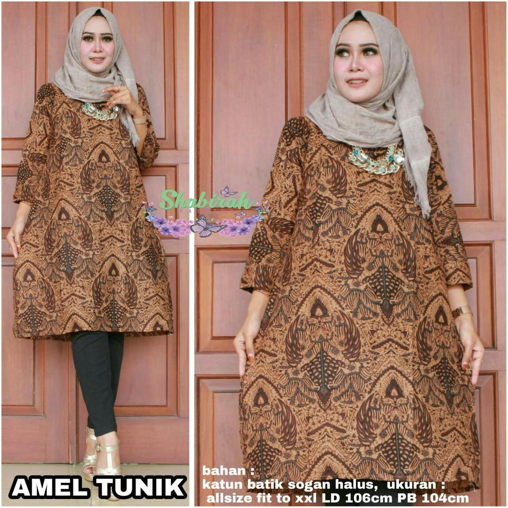 Batik Tunik Modern   Salma Atasan Wanita   BATIK TUNIK KERJA   ATASAN BATIK  BY SB  dbb6aa03e0