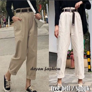 (free belt) pocket pants drill // baggy saku pants // tumblr kantong free belts