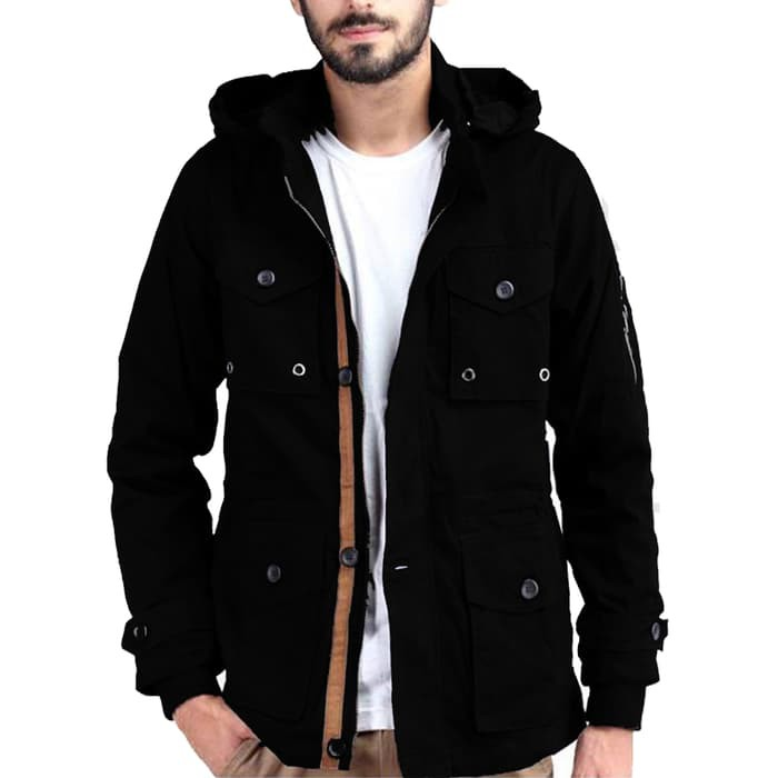 Jfashion Men's Basic Parka Jacket - Hitam, S | Shopee Indonesia