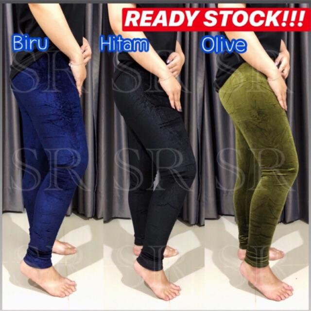 Ready Stock Legging Bludru Velvet Polos Import Celana Panjang Wanita Grosir Ecer Murah Shopee Indonesia