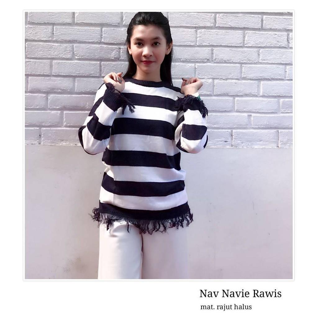 Raida Rawis Big Navy Rajut Murah Bandung Knit Atasan Baju Wanita  Pakaian Shopee Indonesia