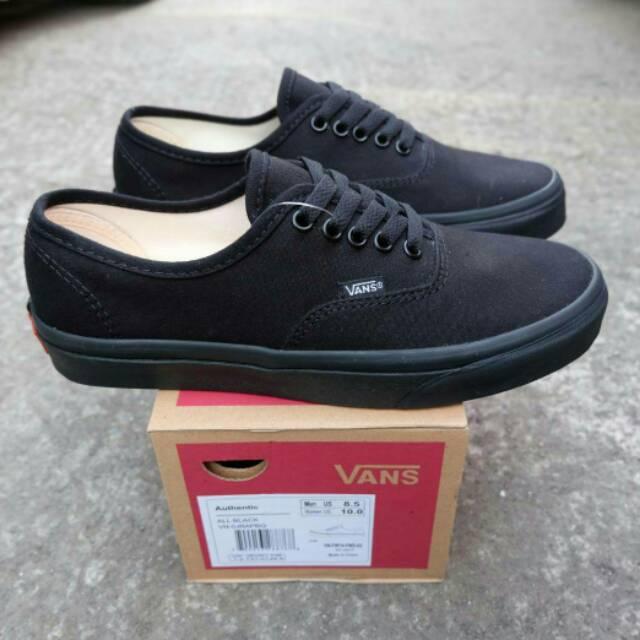 Sepatu Vans Authentic Full Black Made In China Waffle DT IFC ICC Import  PREMIUM  9471650349