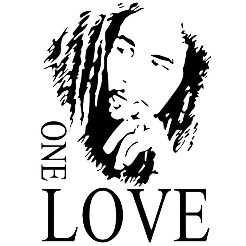 Stiker Dinding Model Mural Desain Bob Marley One Love Warna Hitam Ukuran 43x61cm Shopee Indonesia