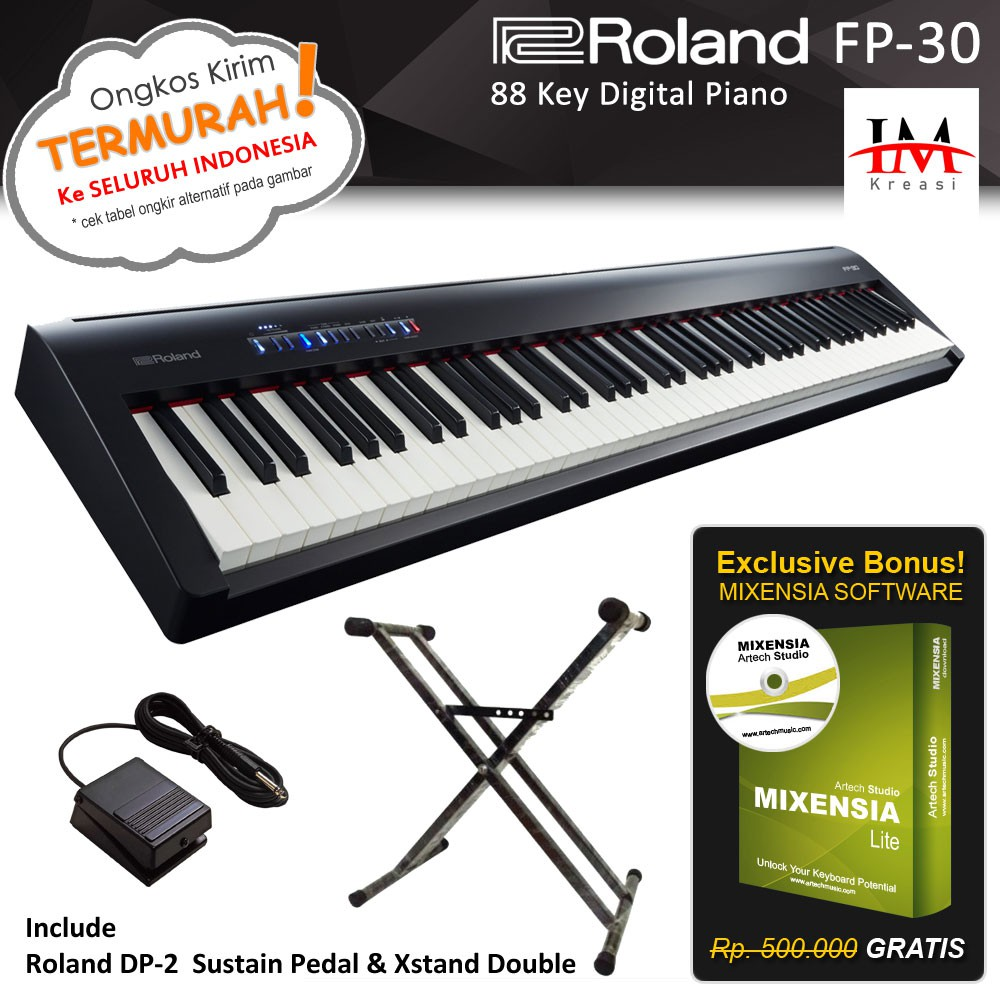 Roland Fp 30 Fp30 Digital Piano With Xstand Double Shopee Indonesia