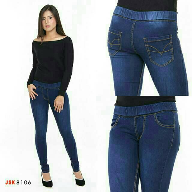 Size 28 42 Celana Legging Jeans Pinggang Karet Wanita Cewek Legging Jeans Standar Big Size Jumbo Shopee Indonesia