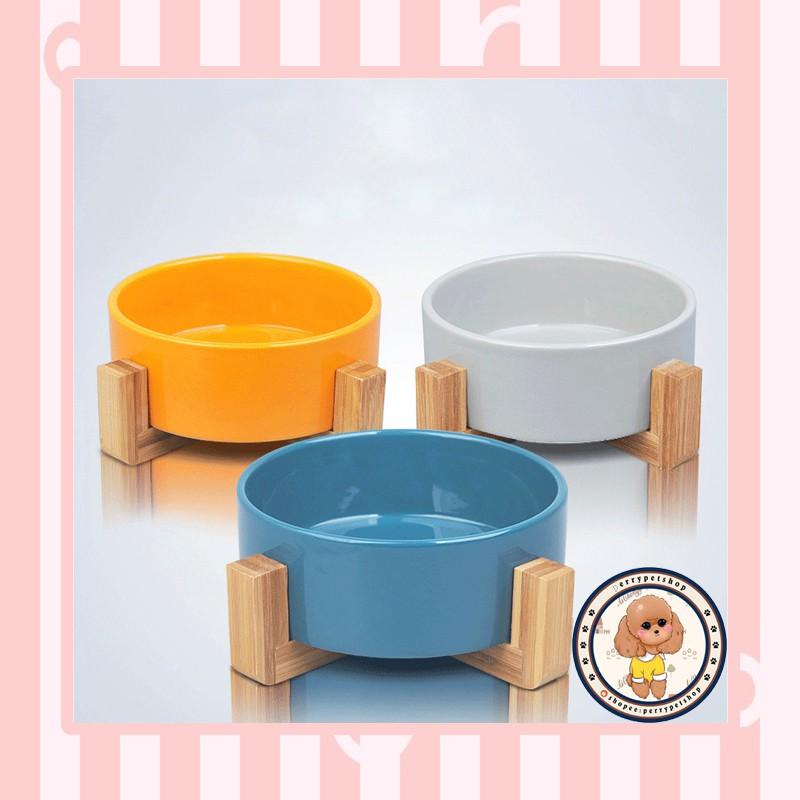 Mangkok Keramik Dengan Penyanggah Kayu Khusus Untuk Anjing ...