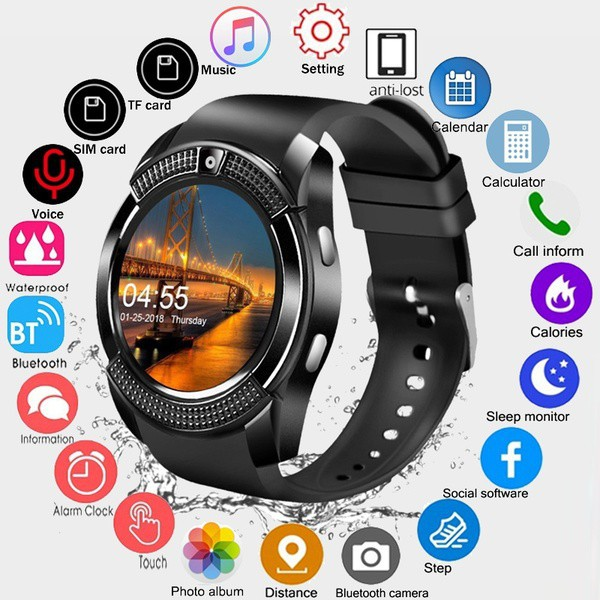 639d6f4669 [✅COD] V8 Smartwatch GSM Bluetooth Smart Bracelet Pedometer Health Monitor  Support SIM TF Card