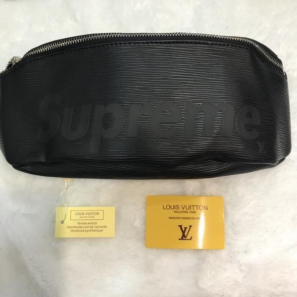 a988be8bfee9 Waist Sling Bag Tas Selempang Supreme X Louis Vuitton LV Black Import