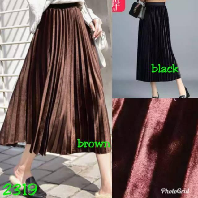 83d7234d85 Rok midi velvet pleated plisket prisket import bkk hk chn bangkok China