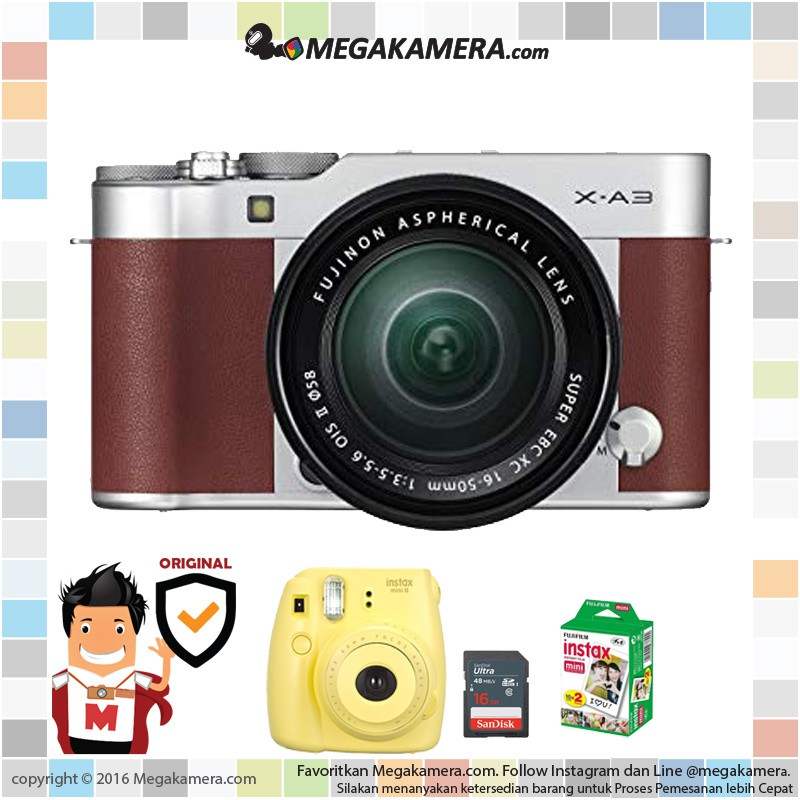 Fujifilm X A3 Fuji X A3 Xa3 Kit 16 50mm Kamera Mirrorless Brown Resmi