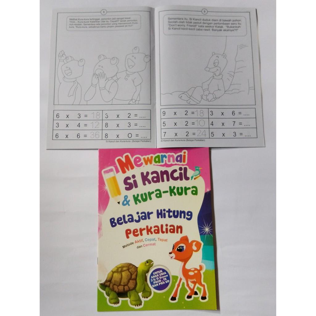 Buku Mewarnai Anak Dan Belajar Berhitung Karakter Gambar Sikancil Dan Kura Kura