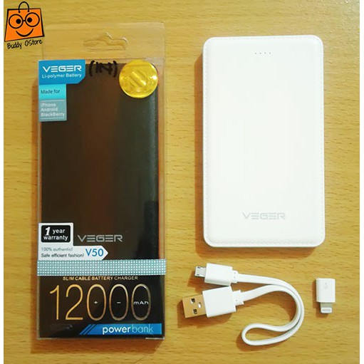 #PowerBank Murah 2230 Power Bank Veger Slim V50 12000 mAh Original Garansi 1 Tahun | Shopee Indonesia