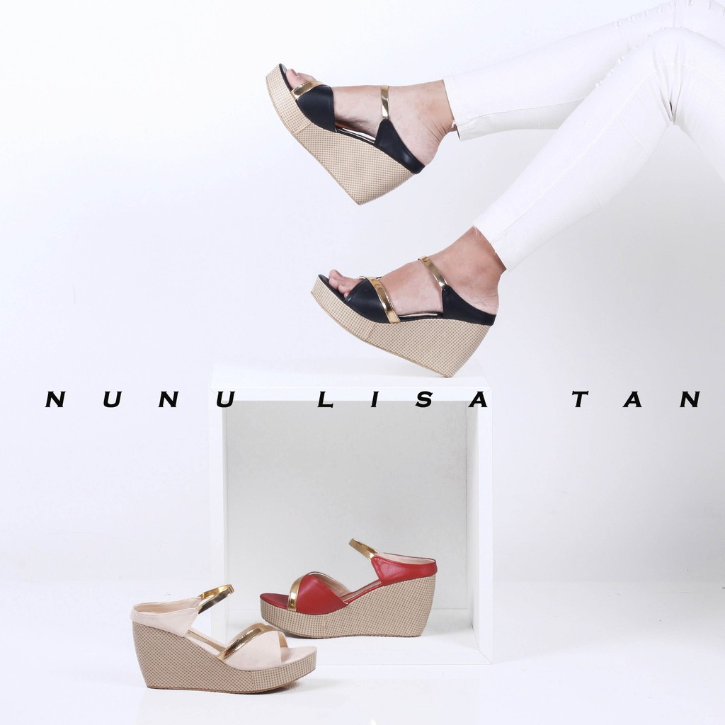Merce Jessie Sepatu Sandal Wanita Wedges Gold Mika Merah Shopee Moca Tali Indonesia