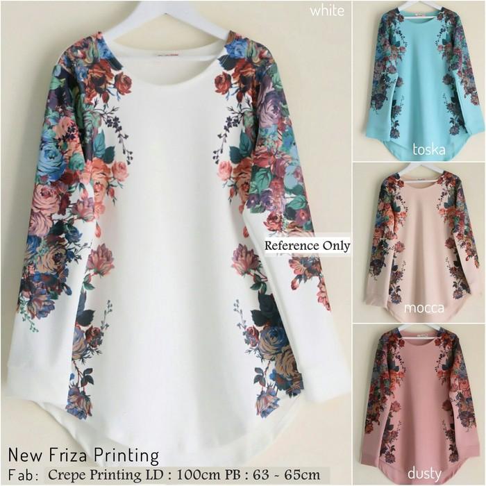 Blus panjang baju atasan wanita New Friza Printing