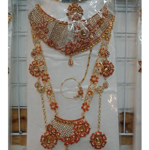 Kalung set pengantin/kalung set India/perhiasan India ...