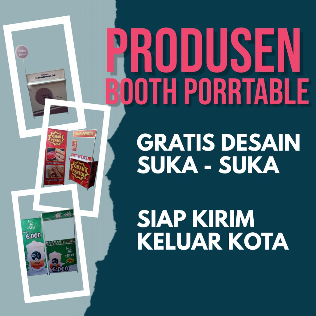 booth portable meja lipat stand gerobak lipat kontainer container jualan promosi makanan minuman