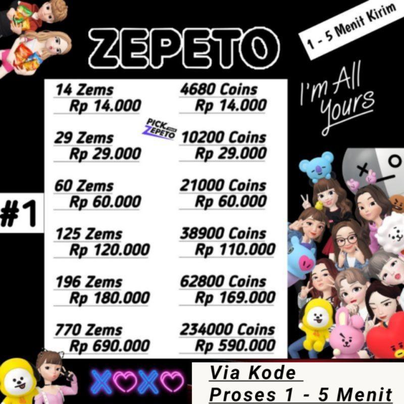 Zepeto - Top Up Zem Dan Coin Legal Murah