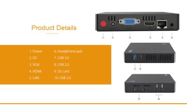 BEELINK Office Mini PC Z85 2/64GB Intel X5 Quadcore Z8350 Windows 10 Support Bracket
