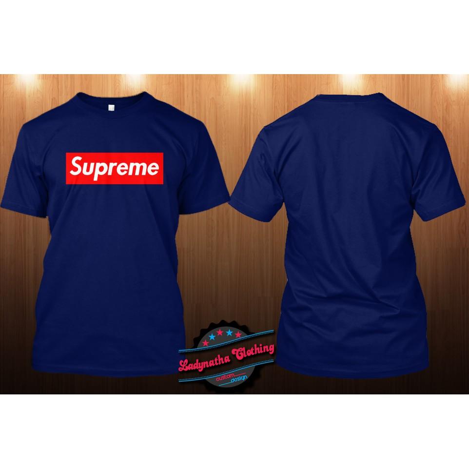 Kaos Supreme Biru Dongker Shopee Indonesia