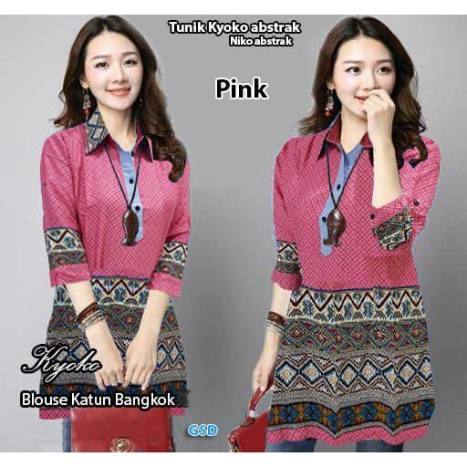 tunik kyoko abstrak/atasan blouse tunik batik cewek/baju blus tunik batik wanita/atasan hem batik | Shopee Indonesia