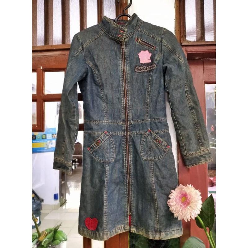 Preloved thrift jaket/long coat wanita bahan jeans