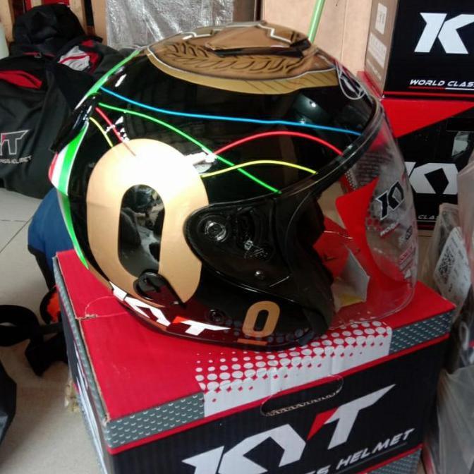 Helm Kyt Kyoto Repaint Leopard Gold Ready Stok